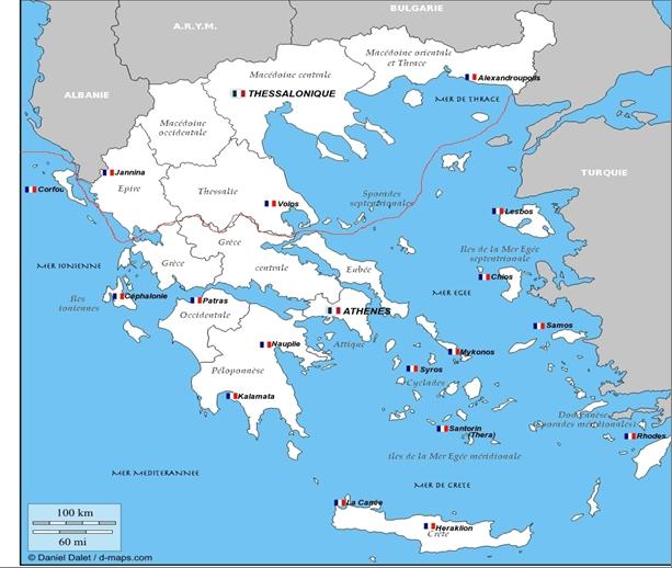 carte grèce en français Circonscription consulaire d'Athènes   Ambassade de France en